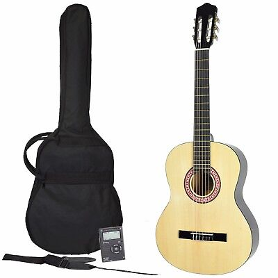 New Sanchez Classical Guitar Pack Full Size 4/4 with Nylon Strings for Beginner