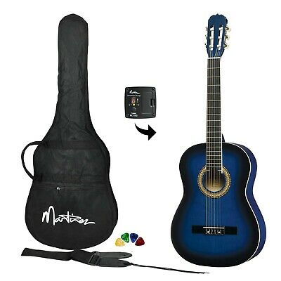 NEW Martinez Full Size 4/4 Beginner Classical Nylon String Guitar Pack (Blue)
