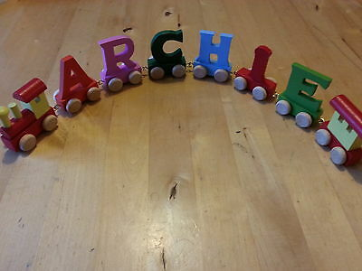 Personalised gift wooden train letters boy girl names christening birthday gift