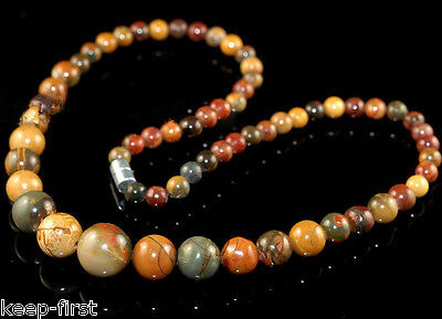 """Rare 6-14mm Natural Picasso Jasper Gemstone Round Beads Necklace 18""""AAA"""