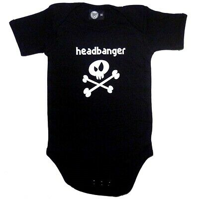 Headbanger Baby Bodysuit Infant Metal Kids Romper Black Blue Pink White