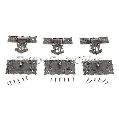 5X Antique Style Brass Jewelry Box Hasp Latch Lock Case Decorative With Screws