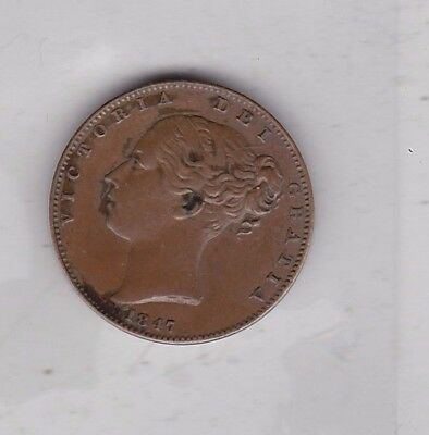1847 Victorian Copper Farthing In Good Very Fine Condition