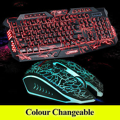 New PC Computer USB 3 Colors LED Light Gaming Keyboard and  Wired Mouse Set 312