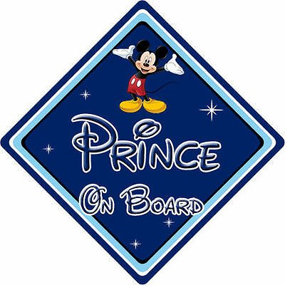 Disney Prince On Board Car Sign - Baby On Board - Mickey Mouse DB