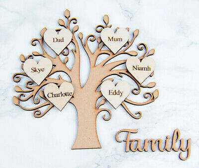 Wooden MDF Family Tree Shape with Personalised Plywood Hearts - &  'Family' sign