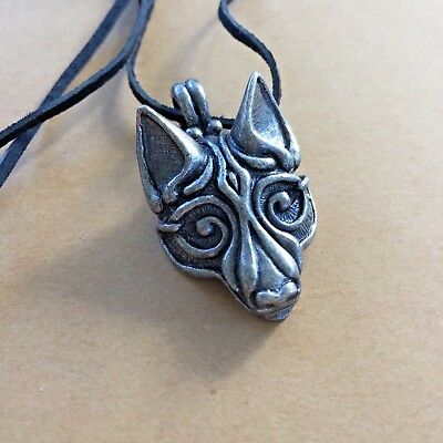 CELTIC VIKING **FENRIR WOLF'S HEAD** PENDANT Lead Free Metal+LEATHER CORD*NORWAY