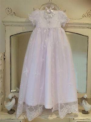 New White Christening Gown + Vintage Style + Bonnet + Free Box 3/6/9/12 Month