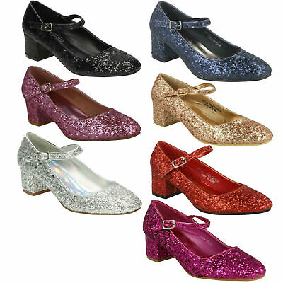 Girls Spot On Glitter Party Shoes Buckle Strap Pink Black Silver Heel H3R057