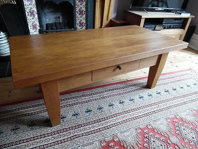 Heavy Solid Chunky Wood Coffee Table with Draw - Cumbria