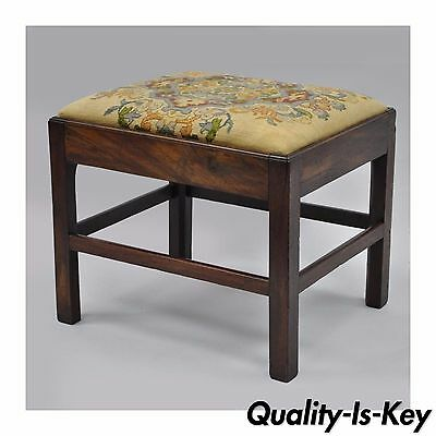 Antique George III Third English Solid Mahogany Needlepoint Bench Seat Chair