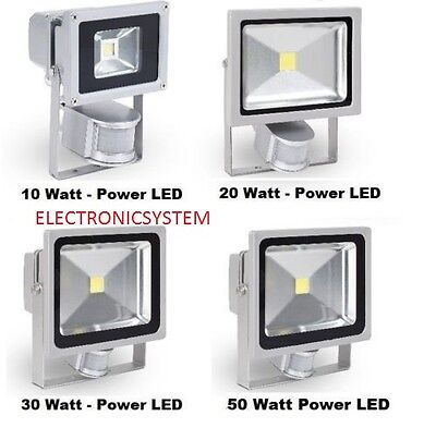 Faro Faretto A Led 10 - 20 - 30 - 50W Watt Sensore Di Movimento Ip65 Da Esterno