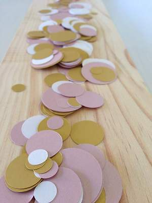 baby pink gold white table decoration confetti