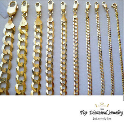 SOLID 14k Yellow Gold Cuban Chain Curb Necklace Link 2mm-5.7mm -7,16,18,20,22,24