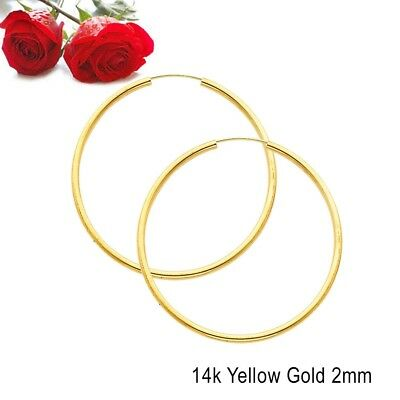 14K Yellow Gold 2mm Thickness High Polished Extra Large Endless Hoop Earrings TD