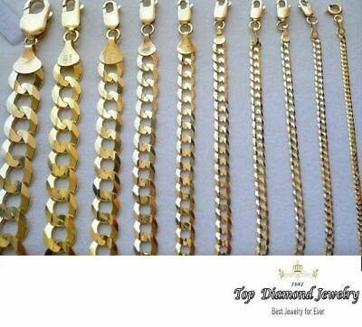 "Gold Authentic 14K Solid Gold Men's Women Cuban Link Chain Necklace Size 16""-36"""