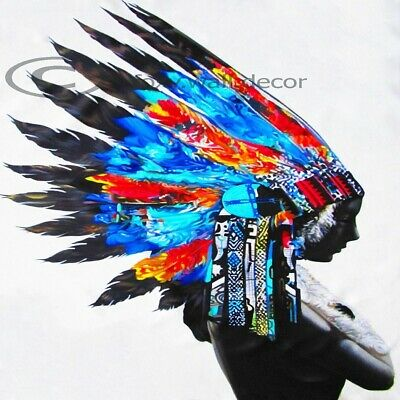 A0 print Indian Blue feather NATIVE AMERICAN street art painting canvas Aussie