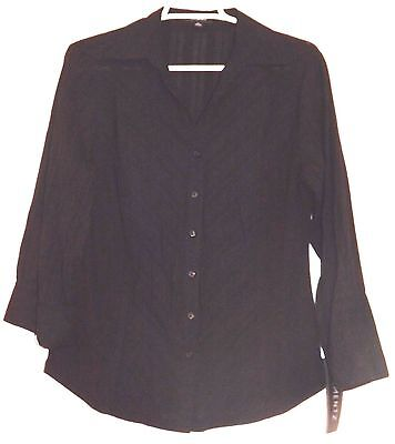 d1bbdc5fd8dcd3 Elementz Women Shirt Black Stripe 3/4 Roll Up Sleeves Button Down 100%  Cotton