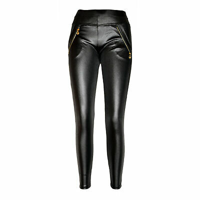 Strech Glanz Wetlook Leggings Leggins Legings Legins mit Taschen und Zier-Zipper