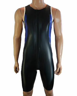 Mens Rubber Latex racer suit with 3 way zip Black and blue