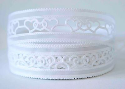1M X 40mm  Lace Ribbon Craft DIY Cake Wedding Decoration Bows - Hearts
