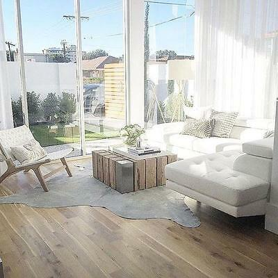 Silver Natural White Metallic Cowhide Leather Floor Rug Cow Hide Premium Quality