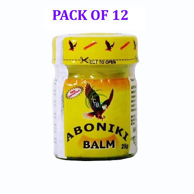 Aboniki Balm Relieves pain, aches, backaches, cold -25g- (12 PACK)