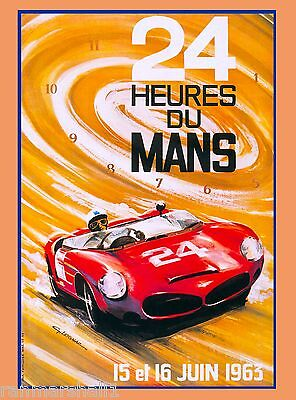 1963 24 Hours Le Mans French Automobile Race Advertisement Vintage Poster 3