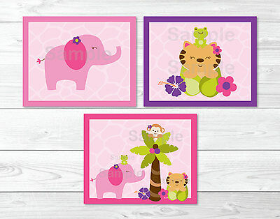 Tropical Jungle Pink Elephant Girls Printable Nursery Wall Art