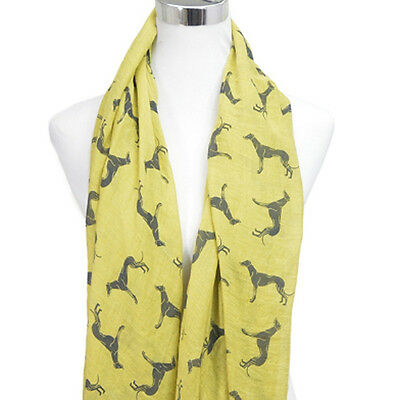 Greyhound Scarf - Whippet Galgo Sighthound - Scarves - Mustard and Black