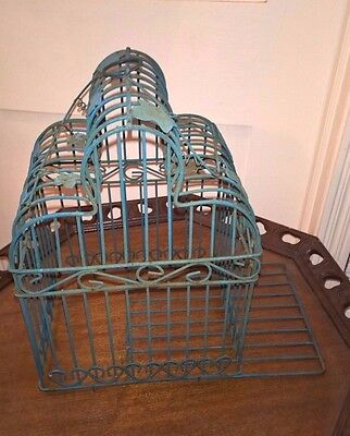 """Vintage Green Metal Wire Bird Cage - Hearts -14"""" Tall 10 X 8"""" -Shabby Chic Decor"""