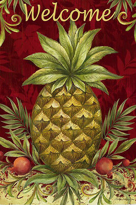 CLASSIC Friendship Hospitality PINEAPPLE WELCOME  2 Sided 12.5X18 Garden Flag