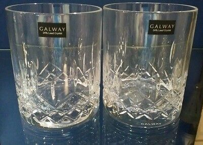 Pair of GALWAY Irish 24% Lead Crystal Mystique D.O.F (Double Old Fashioned)