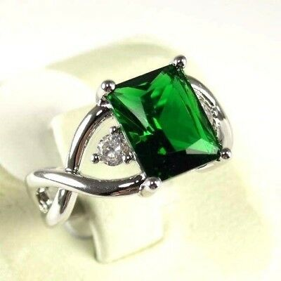 "R#9951 ""Simulated"" Green Emerald gemstone ladies silver ring Size 8"