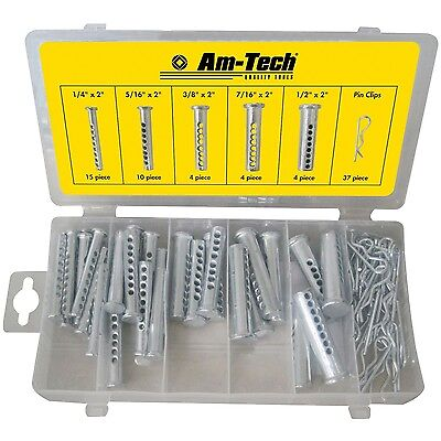 Amtech 74 Piece Assorted Universal Clevis Pin Pins Set Auto Truck Home 8 Pin Adj