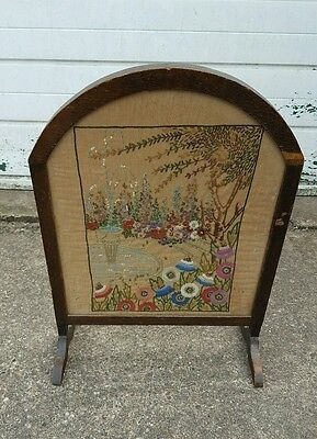 Antique Art Deco Style Wooden Fire Guard/Screen