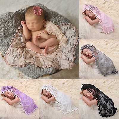 Baby Newborn Toddler Tassel Lace Backdrop Wrap Cloth Photo Photography Prop