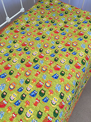 Linens n Things Green Owl Boys Girls Nursery Cotton Crib / Cot Quilt Bedding