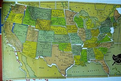 Antique Tablet and Ticket Co US Puzzle Map in Box Indian Territory United States