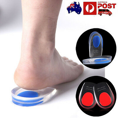 New Gel Shoes Insoles Cushion Heel Cup Massage Pads Inserts Heel HQ