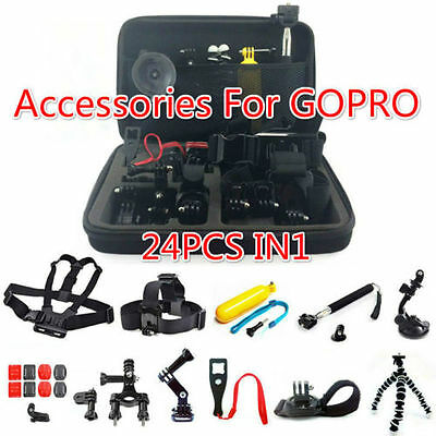 24 in 1 Set Kit  For GoPro Hero 2 3 4 Camera Float Head Mount Strap Accessories