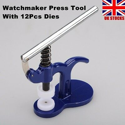 13Pcs Watch Press Set Back Case Closer Crystal Glass Fitting Watch Repair Tool
