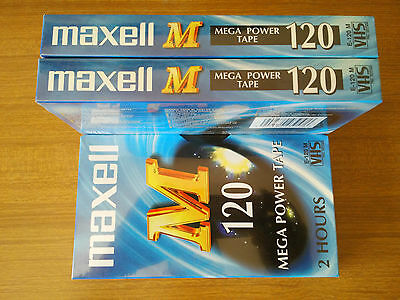 3X Vhs Maxell M 120 Mega Power Tape nuove sigillate