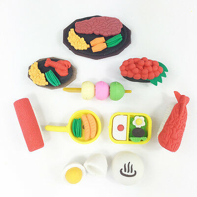 4pc Novelty Cute 3D Sushi Teppanyaki Japanese Food Rubber Erasers Party Bag Gift