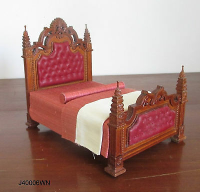 1:12 th scale miniature dollhouse Gothic bed highend quality JBM