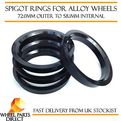 Spigot Rings (4) 72mm to 58.1mm Spacers Hub for Fiat Stilo 02-09