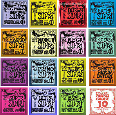 Ernie Ball Slinky Guitar strings with Choice of 16 Gauges - Including singles