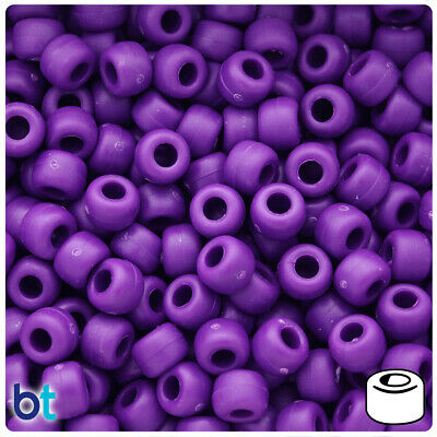 500 Boysenberry Purple Matte 9x6mm Barrel Pony Beads Made in the USA
