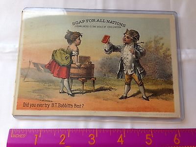 Victorian Old Trade Card BT Babbitts 1776 Soap Powder All Nations & poems!