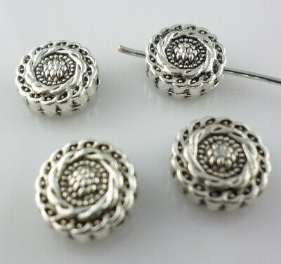 14/42pcs Tibetan Silver Oblate Flower Charm Spacer Beads DIY Jewelry Making